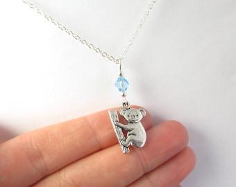 Koala Necklace- choose a birthstone, Koala Jewelry, Koala Charm Necklace, Koala Gift, Koala Pendant, Koala Birthstone, Koala Charm, Koala
