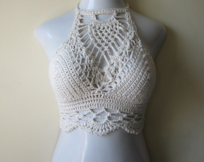WHITE CROCHET crop TOP, Festival clothing, crochet halter top, high neck halter top, bohochic, beach cover up,  gypsy top,