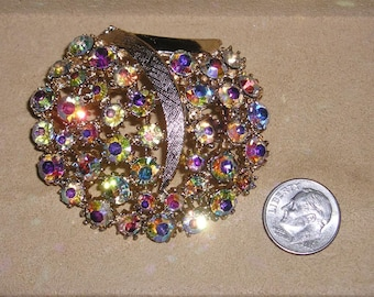 Vintage Signed Art Brooch With Iridescent Crystal Rhinestones Timeless 1960's Jewelry Pin 10086