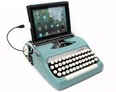 USB Typewriter Computer Keyboard -- Smith Corona Sterling -- Robins Egg Blue