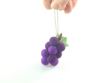 Christmas Ornament - Miniature Fruit - Needle Felted -  Bunch of Grapes - Purple Grape Cluster - Needlefelt Ornament - Felt Christmas