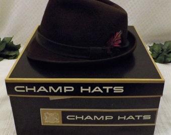 50s Champs Fedora Brown Wool Felt Hat Size 7  1 / 4
