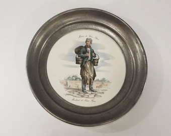 French vintage Pewter Wall Art Plate, Handmade Frame, Collectible Pottery Old Trades of Paris by Moulin des Loups Orchies