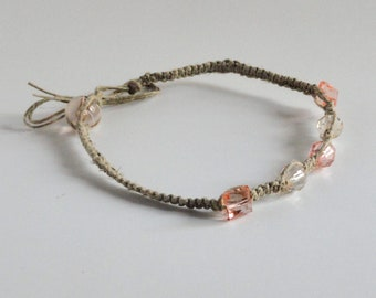 Natural Sparkle Hemp Anklet