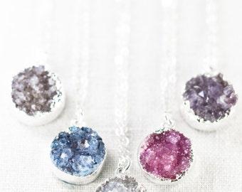 Noelani necklace -  silver druzy necklace, silver necklace, druzy, silver pendant necklace, druzy necklace, pendant necklace, maui, hawaii