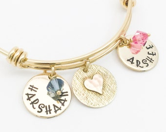 Kids Names Initials Bracelet Charms Gift for Mom Mommy Jewelry Goldplated Stainless Steel Expandable Charms Birthstones Grandma Gift