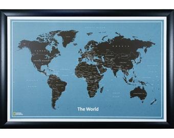 Modern World Push Pin Travel Map, Wide Black Frame, 24x36-Inch (5802436MAP01E)