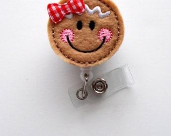 Gingerbread Cutie - Retractable ID Felt Badge Holder - Holiday Badge Reel - Nurses Badge Holder - Nurse Badge - Teacher Badge