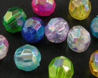 25g 6mm Acrylic Faceted Round Beads - AB Colours Mixed - A5201