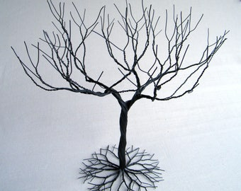 Black large Jewelry Tree Stand,  wire tree sculpture.  perfect for necklaces , earrings ,  rings , etc.  display holder tree , organizer.