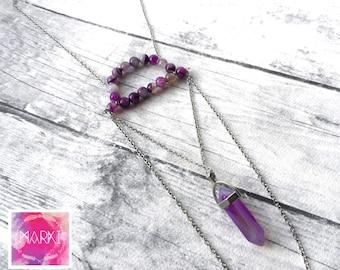 Amethyst necklace, Birthstone necklace, Crystal necklace, Gemstone necklace, Agate necklace, Silver Boho necklace, Everyday necklace, Unique