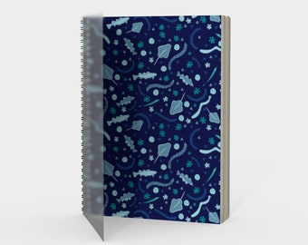 Sea Life Spiral Notebook in Indigo Blue Turquoise with Fish Ray Sand Dollar with drawing or sketch paper blank, ruled, graph bullet journal