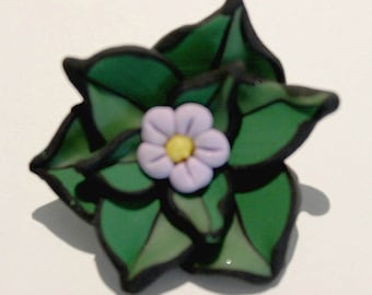 Polymer Clay Blue Flower Brooch