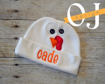 Personalized Thanksgiving Turkey Baby Infant Boy Hat - Newborn Hat - embroidered - Newborn Hat - Infant Hat - Baby Hat - Hospital Hat