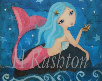 Mermaid Art- Children's Art- Mermaid Decor- Mermaid Wall Art - Mermaid Art Print-  Sizes 11x14 or 16x20 by HRushton