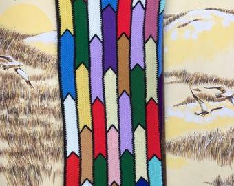70s Vintage afghan throw blanket,  1970s afghan retro home decor, geometric afghan bright colorful, bohemian crochet, boho crocheted  decor
