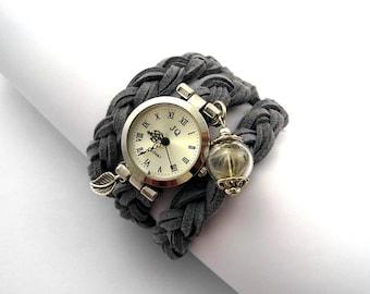 Real Dandelion Suede Wrap Watch. Silvergrey. Watch for her.