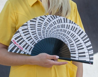 HANDHELD FAN | black and white piano keys print | music fashion accessory | gift for her | summer hand fan | Free Shipping Worldwide