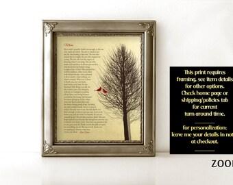 GIFT Idea for Mom Birthday Gift for Mom Gift Poem faux Gold Foil Art Print Custom Gift Cardinal from Son or Daughter or Children CHRISTMAS