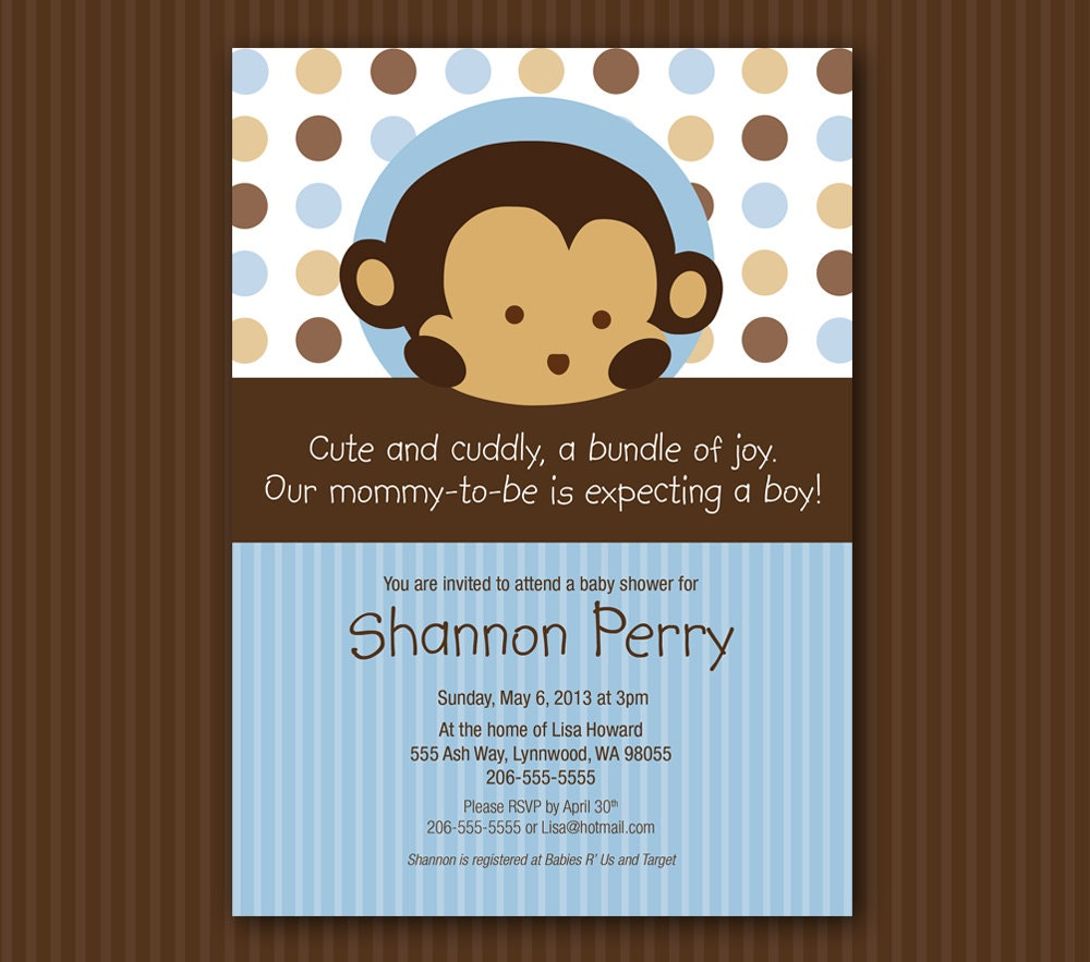 Blue Monkey Baby Shower Invitation Matches Mod Pod Pop Monkey