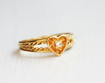 Crystal Heart Ring, Gold Heart Ring, Crystal Ring
