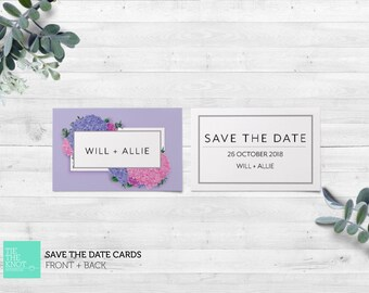Printed Save the Date Cards | Spring Floral Wedding Stationery | Hydrangea Posy