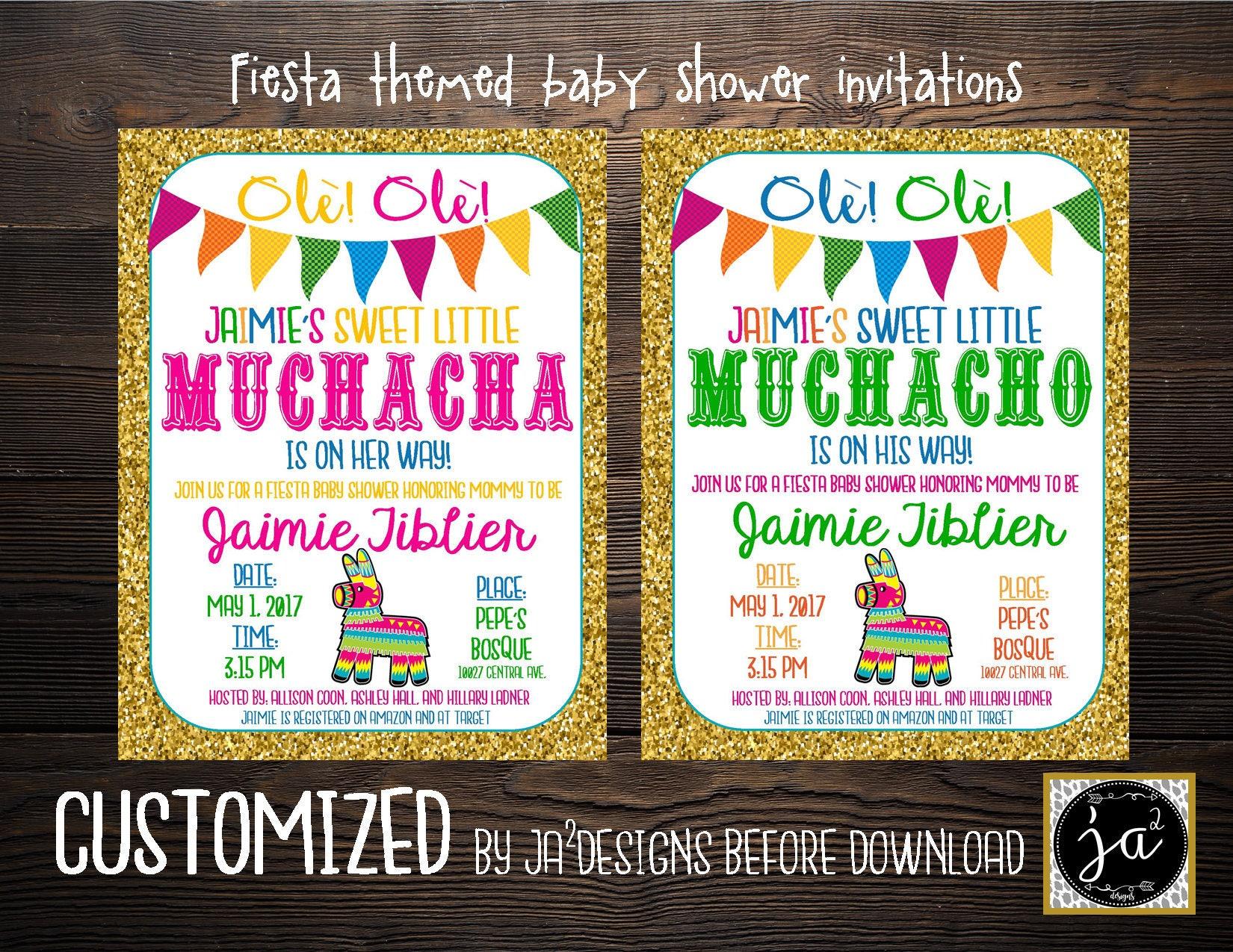 Customizable Fiesta Baby Shower Invitation/ Boy baby shower
