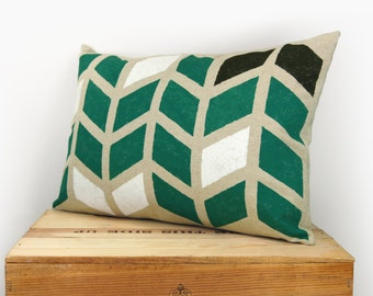 12x18 Decorative Throw Pillow Cover | Geometric Chevron in Emerald Green, Natural Beige, Black and White | Modern Home Decor