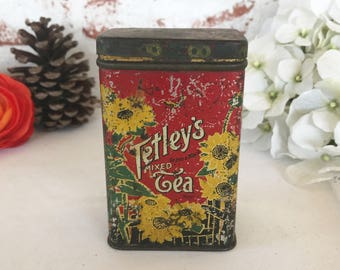 Gorgeous Antique Floral Tetley Tea Tin Litho Box, Red Sunflowers, Decorative, Advertising Canister, kitchen storage decor,