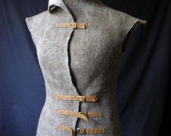 "One-of-a-kind ""Skandinavia"", felt vest, felt jacket, unique design, vest for woman, eco vest, eco clothes, eco gift"