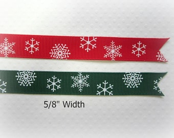 "Christmas Snowflake Ribbon. Red and Green Snowflake Ribbon. Green and Red Grosgrain Christmas Ribbon. 5/8"" Width. 3 Yards of EACH Color."