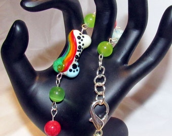 Dog Bone Pet Bracelet Rainbow Lampwork Dog Bone Bead Beach Glass Rounds OOAK Handmade Pet Lovers