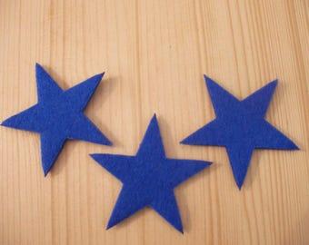 set of 3 small felt #7 stars