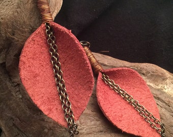 Leather and Copper Calla Lily Earrings
