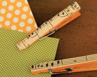 Vintage Music Covered Clothespins