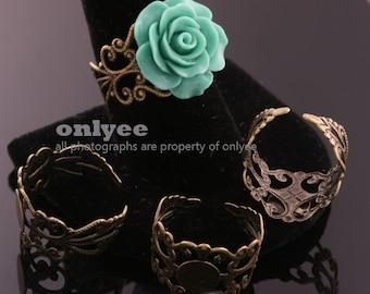 10PCS-Antiqued Bronze DIY flower ring kit Filligree Victorian 8mm Ring Pads with Adjustable Backs(E297B)