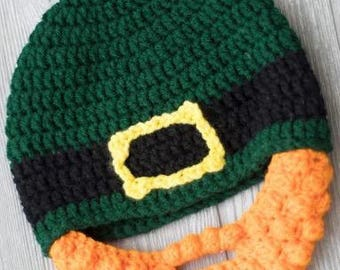 St. Patricks day hat - Baby Leprechaun  hat - St Patricks day baby costume -  Baby beard hat - Baby Hat with  Beard - Beard Beanie