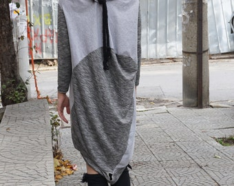 Asymmetric Flattering Grey Cotton Dress Tunic / Deconstructed Oversized Loose Dress Tunic with Robe Necklace / Alternative Dress Tunic