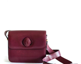 Vintage Cartier burgundy boxy crossbody bag