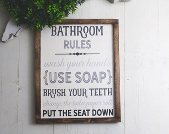 Bathroom Rules Sign | Bathroom Decor | Farmhouse Bathroom | Farmhouse Sign | Wood Sign | Bathroom Wall Decor