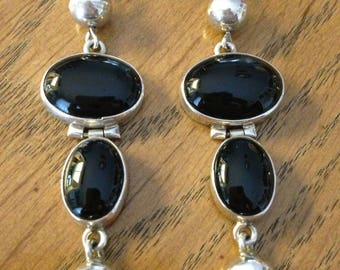Onyx and Sterling Silver Dangle and Drop Earrings