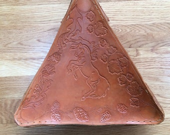 Tooled Leather Tripod Stool