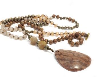 "Gemstone Knotted Necklace 35"" Pyrite Hematite Crystal Amazonite Beads With Jasper Pendant Boho Style Jewelry"