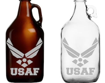 US Air Force - USAF -  Etched -  Mug - Glass - Beer - Growler - Pitcher