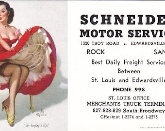 Group of  5 Vintage Ink Blotters, 1959-1962, Gil Elvgren, Schneider Transfer/Motor Service, Edwardsville, IL Advertising....FREE SHIPPING!