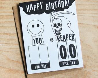 Happy Birthday, You vs Reaper greeting card, letterpress write-in card.