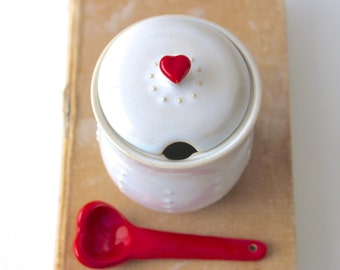 Sugar Jar with Red Heart Spoon - Creamy White French Country Dinnerware - Salt Keeper - Limited Edition