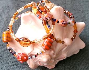 Beaded bracelets for women set of 2,Tassel bracelets stack,Lampwork glass beads,Charm bracelets,memory wire Bracelet for women,Boho bracelet