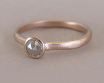 River Engagement Ring in 14k Rose Gold with Raw Gray Rose Cut Diamond, Size 5.75