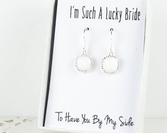 White Silver Earrings, Silver White Square Earrings, Bridesmaid Gift, Wedding Jewelry, Bridesmaid Earrings, White Bridal Accessories